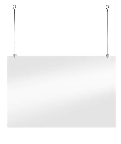 Beschermend Hangend Plexiglas Scherm Incl. Ophangset voor Systeemplafond Tegen Niezen en Kuchen voor Toonbank, Receptie of Balie (60x100cm)