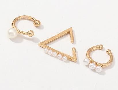 Pendientes de clip de cristal con perlas de imitación punk, para mujer, bohemio, color plateado, con geometría, joyería (color metálico: oro amarillo claro)