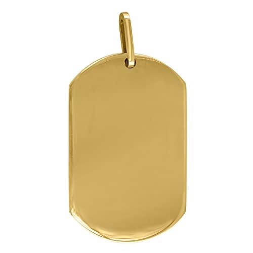 Collar con colgante de acero inoxidable de tono amarillo, para hombre, con etiqueta de perro, 23 x 37 mm, joyería de regalo para hombres