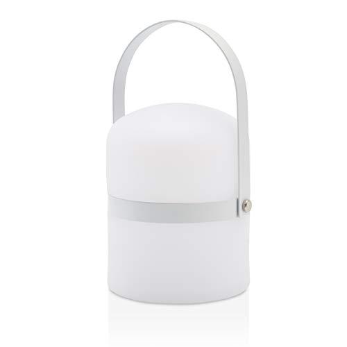 LUUK LIFESTYLE Kleine skandinavische Design Tischleuchte, LED Outdoor Gartenlampe, Laterne, Lampe, LED Leuchte, Terrasse, Laterne drinnen, draußen, dimmbar, wiederaufladbar, USB Anschluss, weiß matt