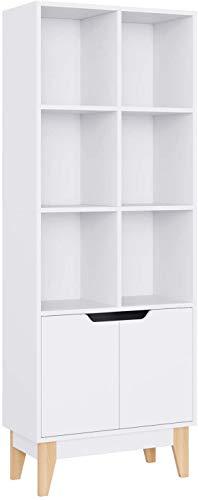 Librería Estantería Mueble Alto de Madera con Puertas Armario Salón Cocina Dormitorio con 6 Cubos 2 Puertas 60x30x162 cm