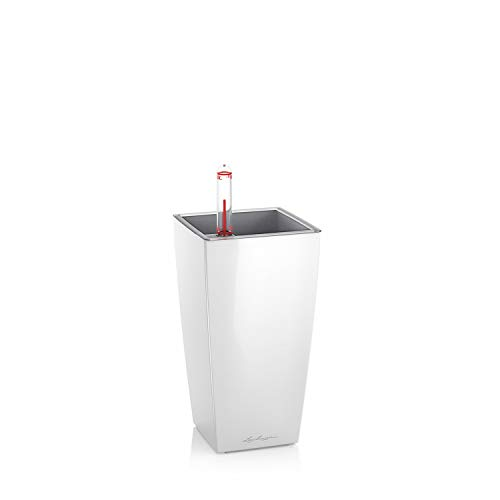 Lechuza MINI-CUBI Tischgefäß, Weiß Hochglanz, Hochwertiger Kunststoff, Inkl. herausnehmbarer Pflanzeinsatz, für Innenraumbegrünung geeignet, 18120