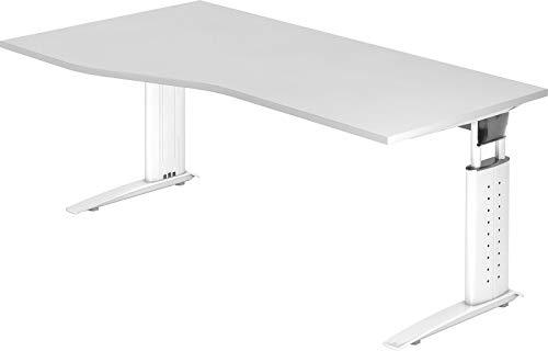bümö® Schreibtisch höhenverstellbar 68-86 cm | Bürotisch mit Gestell in weiß | Büroschreibtisch | Tisch für's Büro & PC in Top Qualität - Freiform: 180 x 100 cm, Weiß