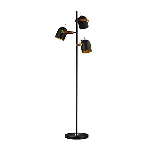 Schuller Adame - Lámparas de pie Lámparas de pie con brazos múltiples, negro mate, pintura dorada, 3x E14