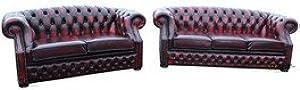 Designer Sofas4u Chesterfield Buckingham divani a 3posti + 2posti Oxblood in Offerta