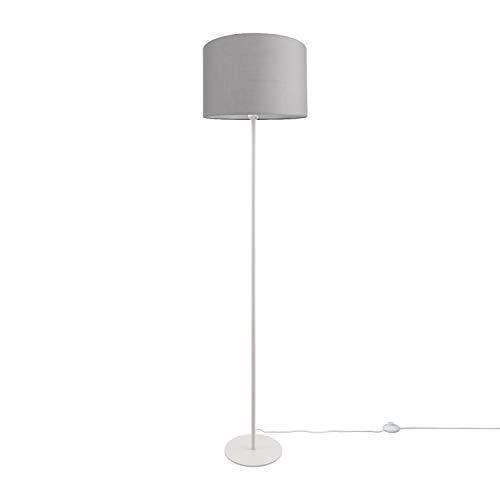 LED Stehlampe Modern Wohnzimmer Schlafzimmer, Einbeinig, Deko Stehleuchte E27, Lampenfuß:Einbeinig Weiß + Leuchtmittel, Lampenschirm:Grau (Ø38 cm)