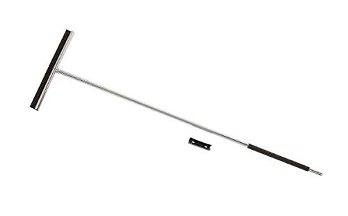 WENKO Bodenwischer Rosole, hochwertiger Wischer zum streifenfreien Abziehen von Wasser, mit rutschfestem Griff und Silikon-Lippe, inkl. Wandbefestigung, rostfreier Edelstahl, 40 x 133 x 3 cm