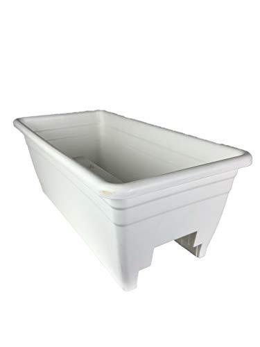 The HC Companies SPX24DB0A10 Akro White Deck Rail Box Planter  24quot