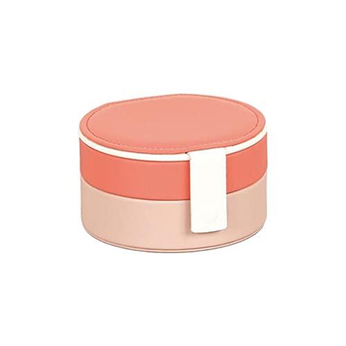 ROEWP Caja de joyería portátil, Pendientes Redondos Simples de Estilo Europeo Travel Organizador portátil Caja de Organizador, diseño Multicapa con Espejo (Color : Pink)