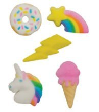"""24pk Rainbow Unicorn IceCream Donut Party 1"""" - 1 1/2"""" Edible Sugar Decoration Toppers for Cakes Cupcakes Cake Pops w. Edible Sparkle Flakes & Decorating Stickers"""