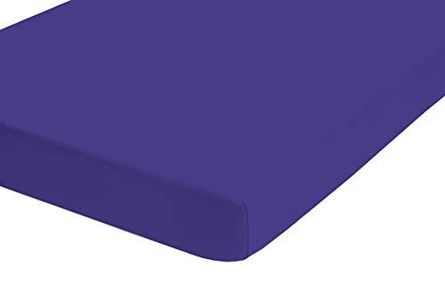 Castell 0077113 Drap housse en Jersey extensible (hauteur du matelas max.22 cm) 1x 90x190 cm > 100x200 cm, bleu