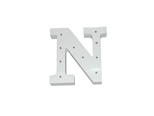 Letra blanca decorativa con luz LED blanca (madera) (N)