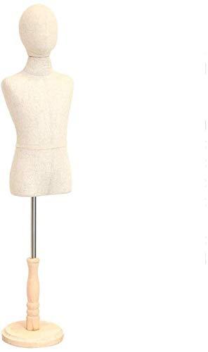 YZJL Child Fashion Show Dressmakers Dummies Display Büste Abnehmbarer Kopf Massivholzbasis Professionelle Kinderschaufensterpuppe