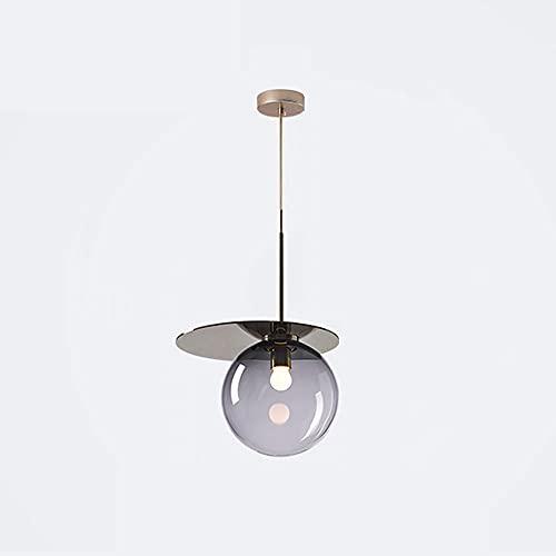 NAMFHZW Lámpara Colgante esférica pequeña de Vidrio Rosa Lámpara Colgante con Pantalla de Metal E14 Lámpara Colgante de Techo de 1 luz Conjunto Ajustable en Altura Semi empotrada Luminaria Dormitorio