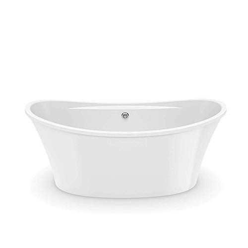 MAAX 106267-000-001 Ariosa Oval Acrylic Freestanding Soaking Bathtub with Center Drain 29.75-in L x 39.5-in W x 28-in H White American Standard Acrylic Oval Tub