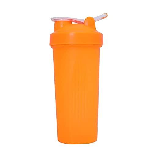 Nueva Taza Colorida de la Botella de la coctelera del Polvo de la proteína de 600ml con la Bola agitadora de la manija para la Aptitud de los Deportes al Aire Libre - Naranja