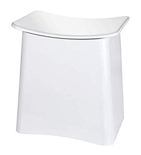 WENKO Taburete Wing blanco - Contenedor para la ropa sucia, taburete para el baño con bolsa extraíble para la ropa Capacidad: 33 l, Plástico (ABS), 45 x 48 x 33 cm, Blanco