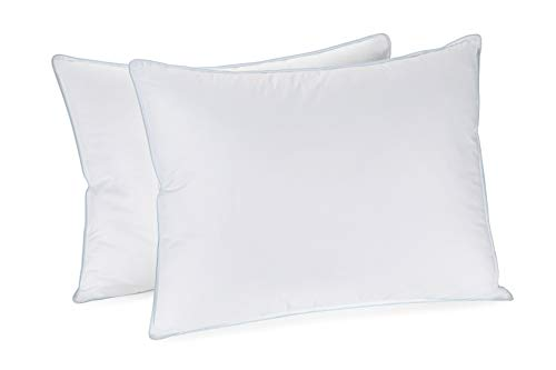 In Style Furnishings - Set of 2 Luxury Pillows - Hotel Quality - Hypoallergenic Soft and Fluffy Pillow with 100% Cotton Cover and Extra FINE Fiber/Poly Filling — Standard