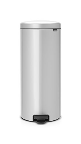 Brabantia Newicon 114465-Cubo de Basura con Pedal, 30 l, Color Metallic Grey, Acero Inoxidable, Gris Metalizado
