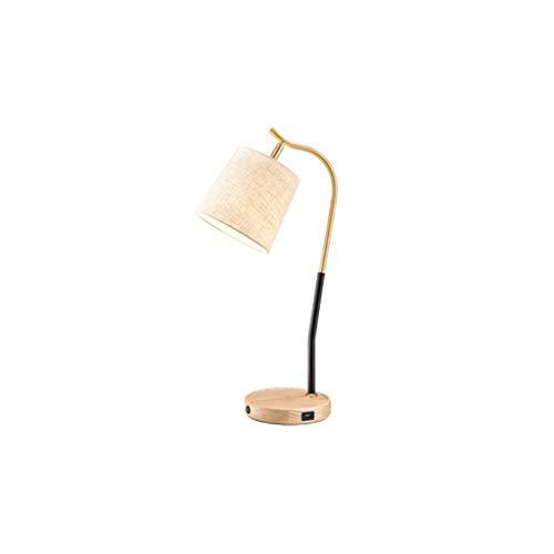 lampara de lectura Moderna simple lámpara de mesa de carga USB Bandeja de almacenamiento con el interruptor de botón de madera de metal giratoria de la lámpara de escritorio for el dormitorio de la lá