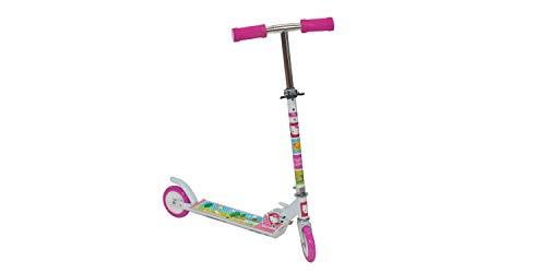 GIL-Design Patinete de aluminio para niños y niñas, con licencia de 2 ruedas, para niños a partir de 5 años, manillar plegable, altura ajustable, capacidad de carga máxima de 50 kg
