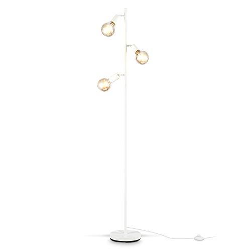 B.K.Licht Lampada da terra retro, piantana con portalampada orientabili, adatta per 3 lampadine E27 non incluse, Lampada a stelo per soggiorno, Interruttore a pedale, 3 punti luce, Metallo bianco