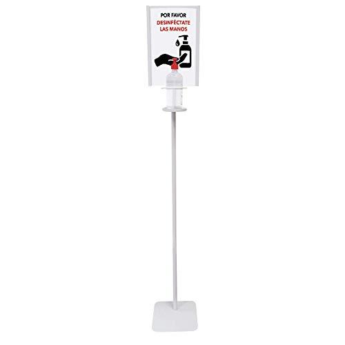 Dispensador de Pie para Gel Hidroalcohólico Desinfectante de Manos para Comercios y Oficinas. 146cm. Incluye Cartela A4. Dispensador de Gel Desinfectante Fabricado en España
