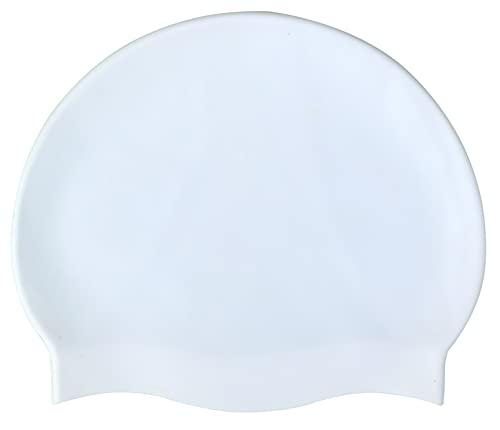 Blue Reef Gorro de natación de silicona elástico unisex para mujer, hombre, de una pieza, sin marca, fluo, colores pastel oscuro, talla única para adultos 8+ años, fácil de tirar de natación (blanco)