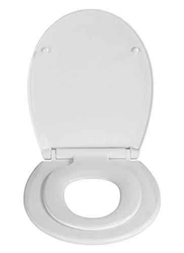 WENKO WC-Sitz Syros Family - 2 in 1 Toiletten-Sitz für Kinder und Eltern mit Absenkautomatik, Thermoplast, 37 x 44 cm, Weiß