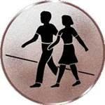 S.B.J - Sportland Pokal/Medaille Emblem, Motiv Wandern, Durchmesser 50 mm, Silber