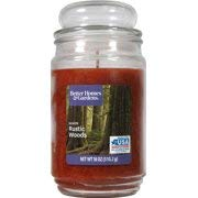 small Better Homes & Gardens 18 oz spruce glass candle with bubble lid (warm and rustic forest)