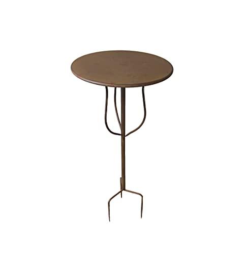 Gartentisch Gartenstecktisch Stecktisch mit Erdspieß Dekotisch Blumenhocker Beistelltisch Tisch Metall braun 45 cm H 80 cm SW160360