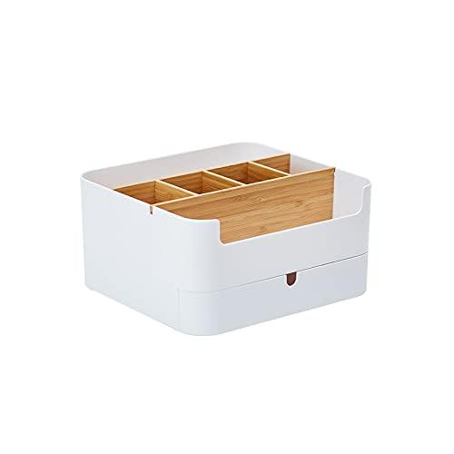 HENGSEN Caja de almacenamiento cosmética de maquillaje, contenedor de maquillaje, caja de cosméticos multifuncional de bambú, caja de almacenamiento antideslizante, color blanco