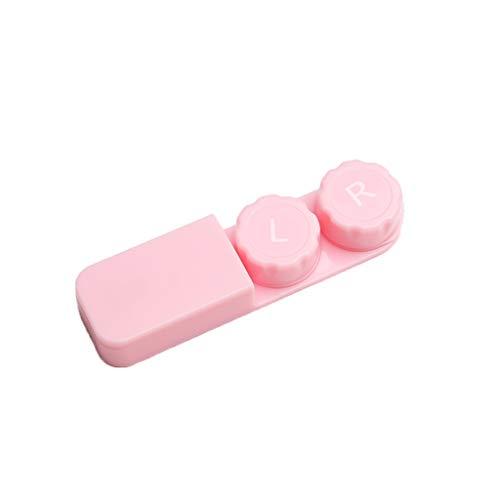 GLLP Lentes de Contacto Caja del compañero de la Caja portátil Simple Lente de Contacto de la Caja de contactos de Belleza Caja de Almacenamiento de atención (Color : Pink)