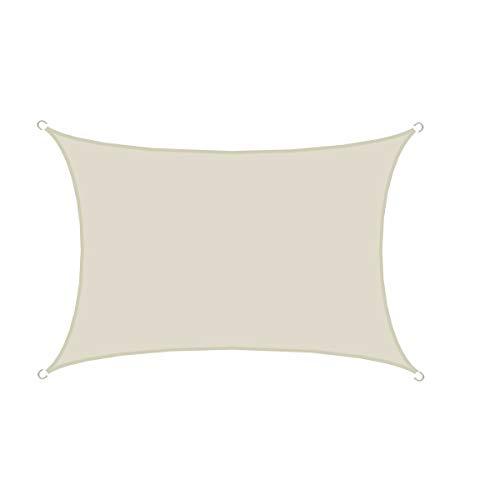 AMANKA UPF50+ UV Sonnensegel 3x5 Polyester Rechteck Wasserabweisend Wetterfest Garten Balkon Beige