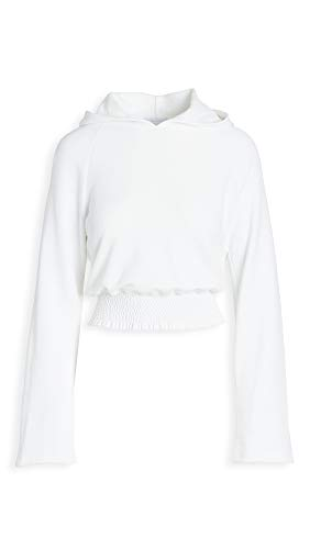 Beyond Yoga Women's Lets Smock About It Cropped Hoodie, White, Small