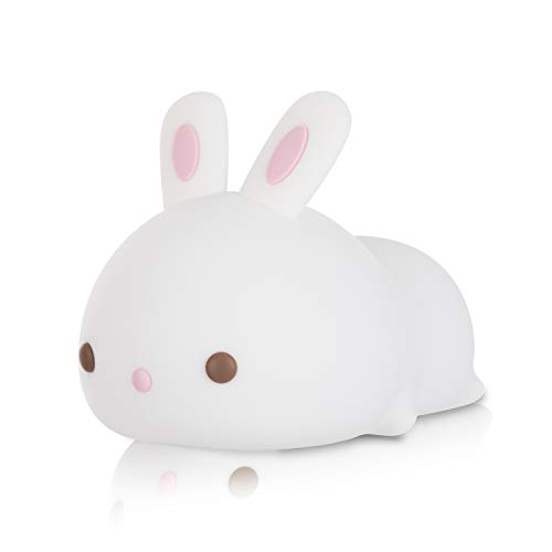 Cute Bunny Night Light,Portable Silicone Animal Lamp for Bedroom, Color Changing Led Light with...