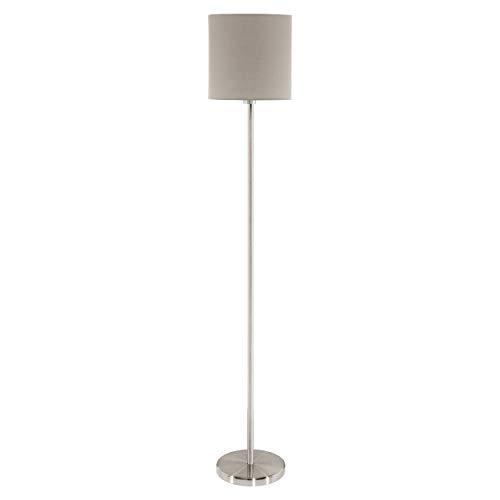 EGLO Lámpara de pie Pasteri, lámpara de salón textil de 1 foco, lámpara de pie de acero y tela, color Níquel mate, Topo, Portalámparas E27, incluye interruptor de pie