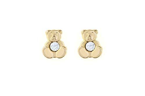 9ct Yellow Gold Teddy Bear Crystal Stud Earrings. Novelty gift box