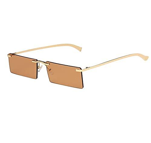 XWKKY Gafas De Sol Sin Montura De Moda Para Mujer Gafas De Sol Punk De Vapor Con Rectángulo Cuadrado Vintage Para Hombre Sombras
