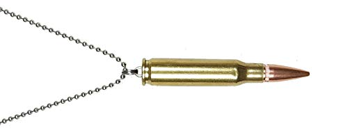 Gotbrass Bullet Pendant 223 Caliber Remington with a 24 Inch Steel Ball Chain