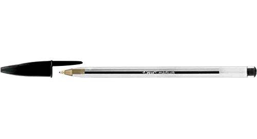BIC - Lote de 12 bolígrafos de punta redonda recargables, punta media, color negro