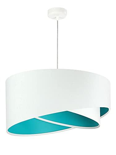 Lámpara de techo Brando, color blanco y turquesa, de tela, diámetro de 50 cm, moderna y elegante