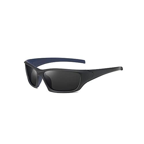 Hanpiyignstyj Gafas De Sol, 1 unids para Hombre Deporte Gafas de Sol polarizadas a Caballo al Aire Libre Eyewear a Prueba de Viento, Color: Negro + Bule