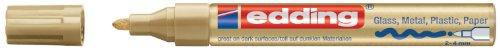 edding 750 Glanz-Lack-Marker Rundspitze - Kreatives gestalten von fast allen Oberflächen (Z.B. Glas, Karton, Dunkles Papier, Keramik, Stein), gold