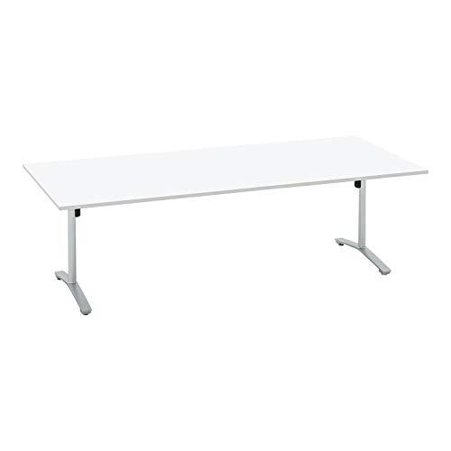 コクヨ ミーティングテーブル ビエナ 天板固定 角形 T字脚 塗装脚 配線ボックスなし 幅240×奥行105cm キャスター仕様 ホワイト/フラットシルバー