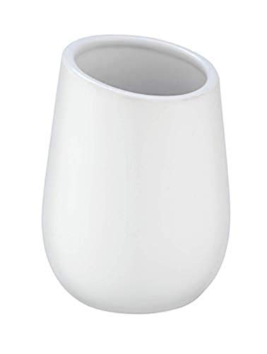 WENKO Gobelet Badi blanc - Porte-brosse à dents pour la brosse à dents et la pâte dentifrice, Céramique, 8 x 11 x 8 cm, Blanc