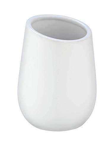 WENKO Bicchiere portaspazzolini Badi bianco - Portaspazzolino per spazzolini e dentifricio, Ceramica, 8 x 11 x 8 cm, Bianco