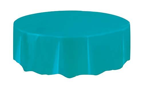 Mantel de Plástico Redondo - 2,13 m - Azul Cerceta