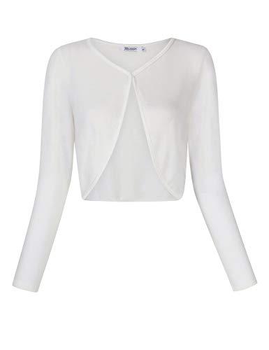KOJOOIN Damen Bolero Kurz Strickjacke Langarm Cardigan Schulterjacke Elegante Shrug Top(Verpackung MEHRWEG)